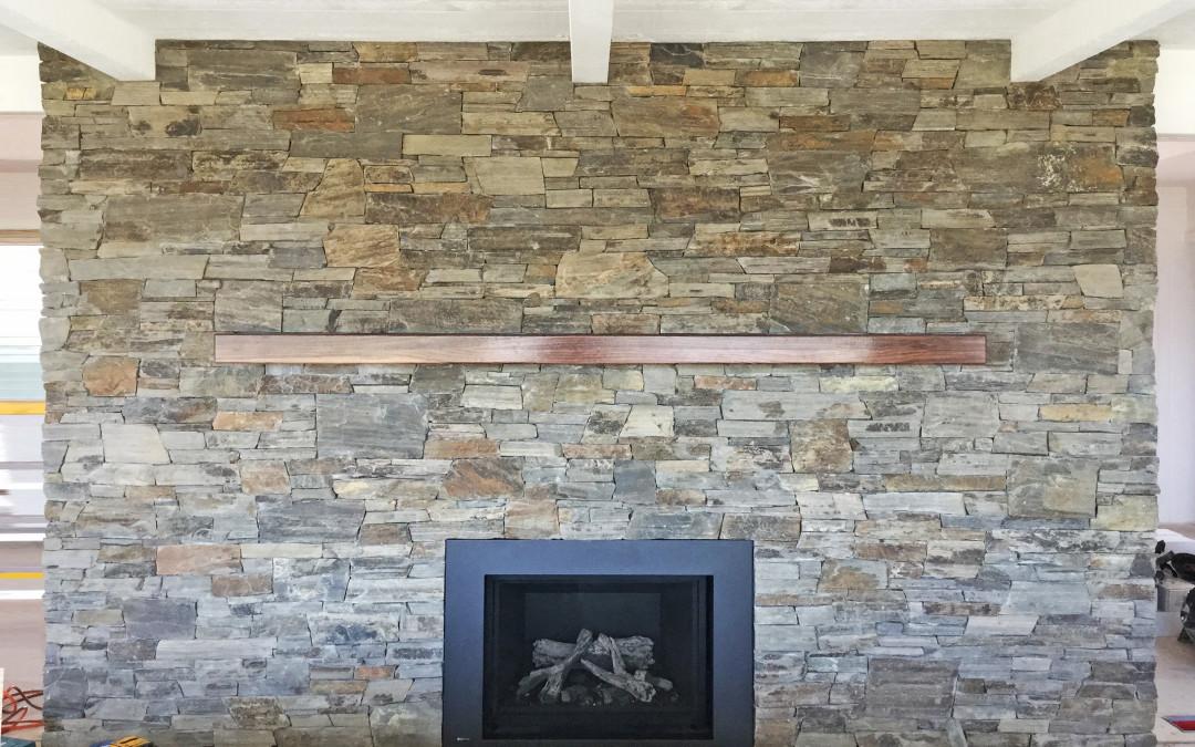 Custom Marbella Stone Fireplace